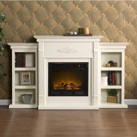 Southern Enterprises Tennyson Ivory Electric Fireplace w/ Bookcases, 70-1/4W x 14D x 42-1/4H