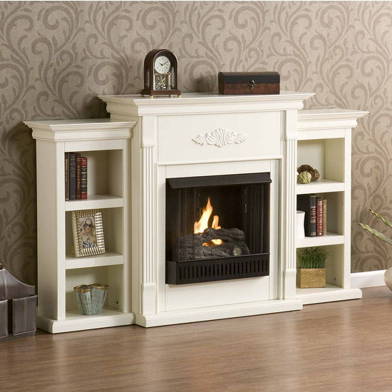 Southern Enterprises Tennyson Ivory Gel Fuel Fireplace w/ Bookcases, 70-1/4W x 14D x 42-1/4H