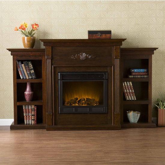 Southern Enterprises Tennyson Espresso Electric Fireplace w/ Bookcases, 70-1/4W x 14D x 42-1/4H