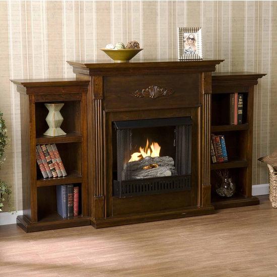 Southern Enterprises Tennyson Espresso Gel Fuel Fireplace w/ Bookcases, 70-1/4 inch W x 14 inch D x 42-1/4 inch H