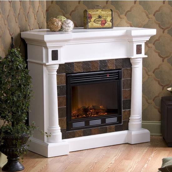 Southern Enterprises Carrington Slate Convertible White Electric Fireplace, 44-1/2W x 28D x 40H