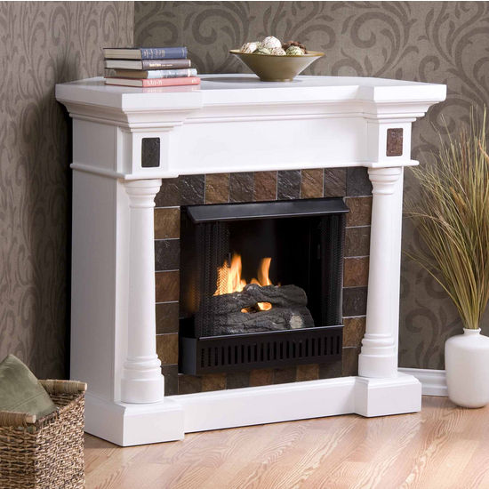 Southern Enterprises Carrington Slate Convertible White Gel Fuel Fireplace, 44-1/2W x 28D x 40H