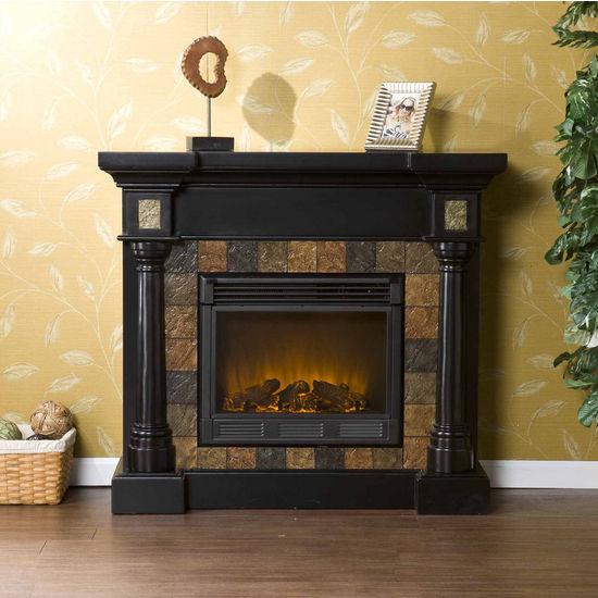 Southern Enterprises Carrington Slate Convertible Black Electric Fireplace, 44-1/2W x 28D x 40H
