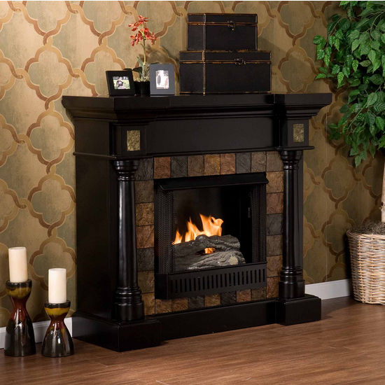 Southern Enterprises Carrington Slate Convertible Black Gel Fuel Fireplace, 44-1/2W x 28D x 40H