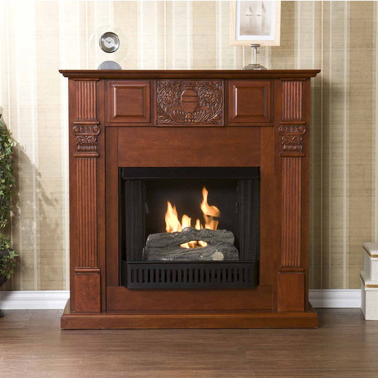 Southern Enterprises LaSalle Carved Mahogany Gel Fuel Fireplace, 42-1/4 inch W x 14-3/4 inch D x 42-1/4 inch H