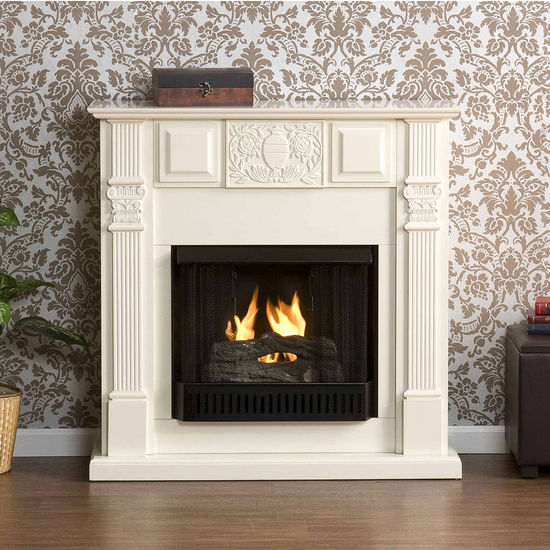 Southern Enterprises LaSalle Carved Ivory Gel Fuel Fireplace, 42-1/4W x 14-3/4D x 42-1/4H