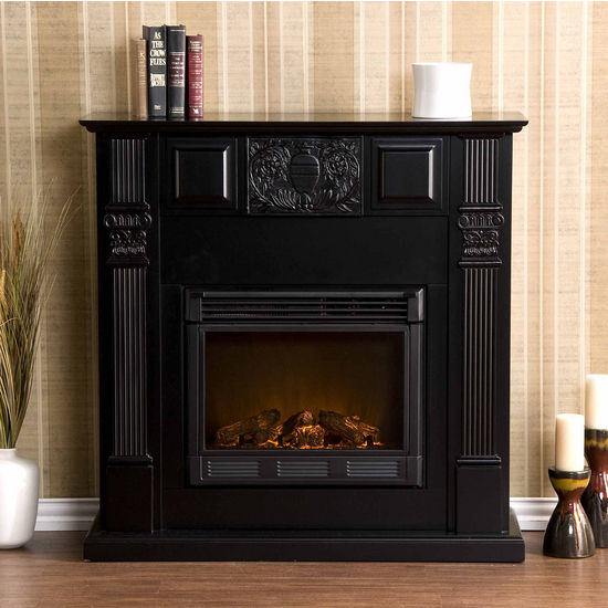 Southern enterprises lasalle carved black electric for Bedroom electric fireplace