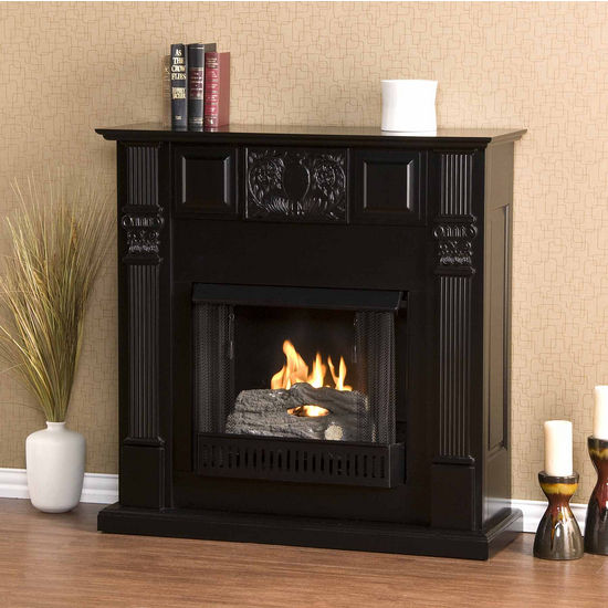 Southern Enterprises LaSalle Carved Black Gel Fuel Fireplace, 42-1/4W x 14-3/4D x 42-1/4H