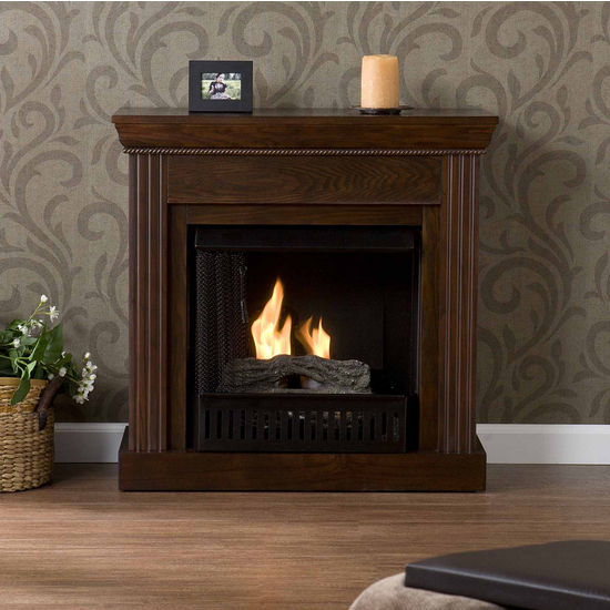 Southern Enterprises Walden Espresso Gel Fuel Fireplace, 29-1/2W x 12D x 29H