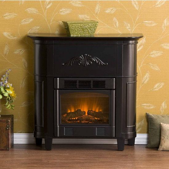 Southern Enterprises Mayfair Black Petite Electric Fireplace, 34-1/2W x 13D x 34H