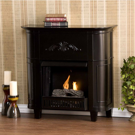 Southern Enterprises Mayfair Black Petite Gel Fuel Fireplace, 34-1/2W x 13D x 34H