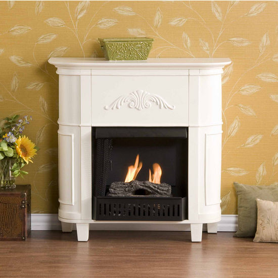 Southern Enterprises Mayfair Ivory Petite Gel Fuel Fireplace, 34-1/2 inch W x 13 inch D x 34 inch H