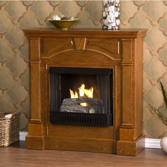 Southern Enterprises Heritage Mission Oak Gel Fuel Fireplace, 42W x 13-1/4D x 42H