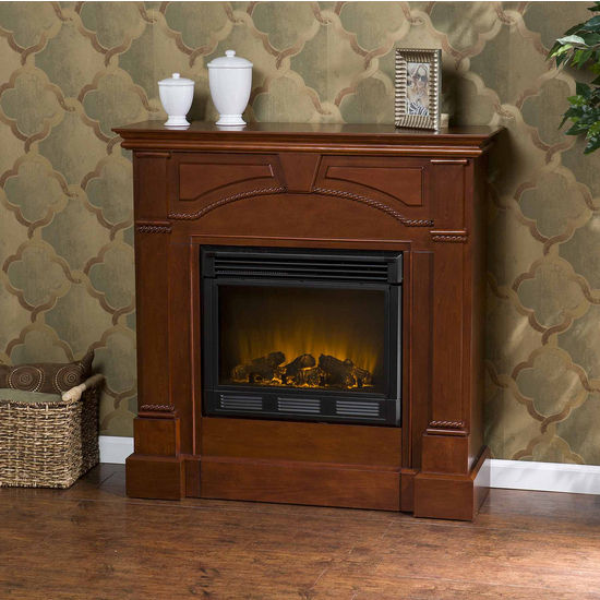 Southern Enterprises Heritage Classic Mahogany Electric Fireplace, 42W x 14D x 42H