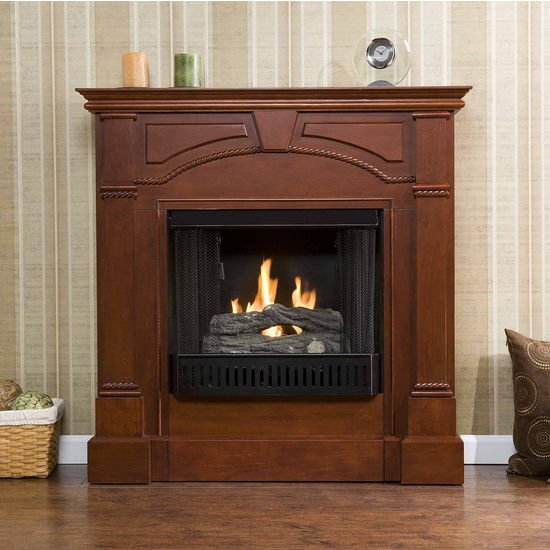 Southern Enterprises Heritage Classic Mahogany Gel Fuel Fireplace, 42 inch W x 13-1/4 inch D x 42 inch H