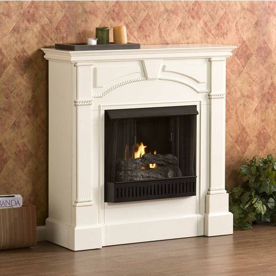 Southern Enterprises Heritage Ivory Gel Fuel Fireplace, 42 inch W x 13-1/4 inch D x 42 inch H