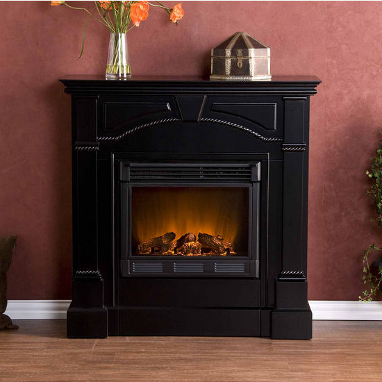 Southern Enterprises Heritage Black Electric Fireplace, 42 inch W x 14 inch D x 42 inch H
