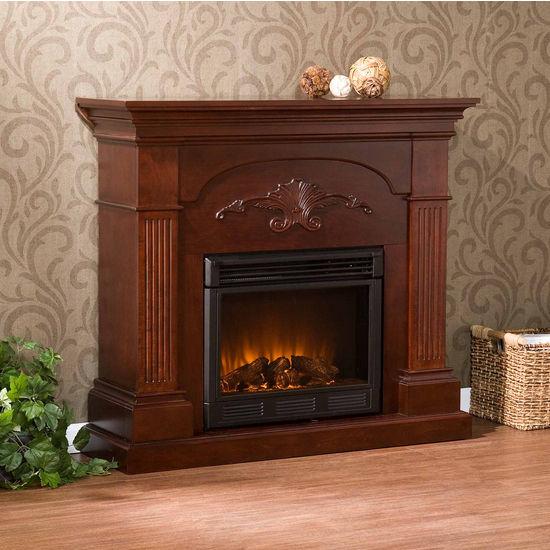 Southern Enterprises Sicilian Harvest Mahogany Electric Fireplace, 44-3/4W x 13-1/2D x 40H