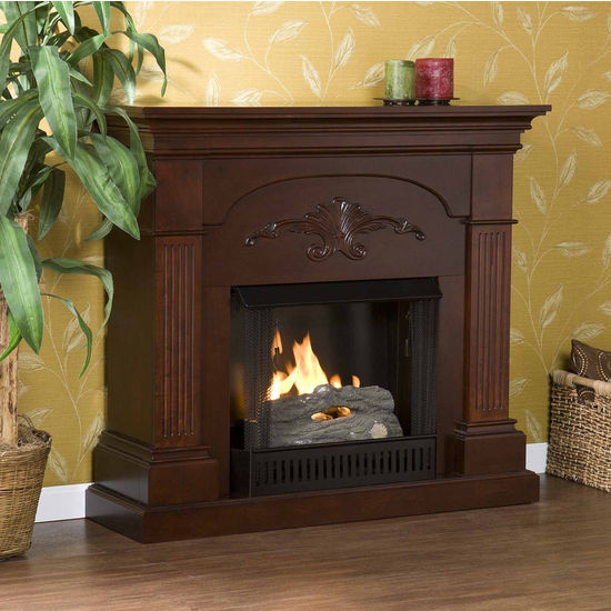 Southern Enterprises Sicilian Harvest Mahogany Gel Fuel Fireplace, 44-3/4W x 13-1/2D x 40H