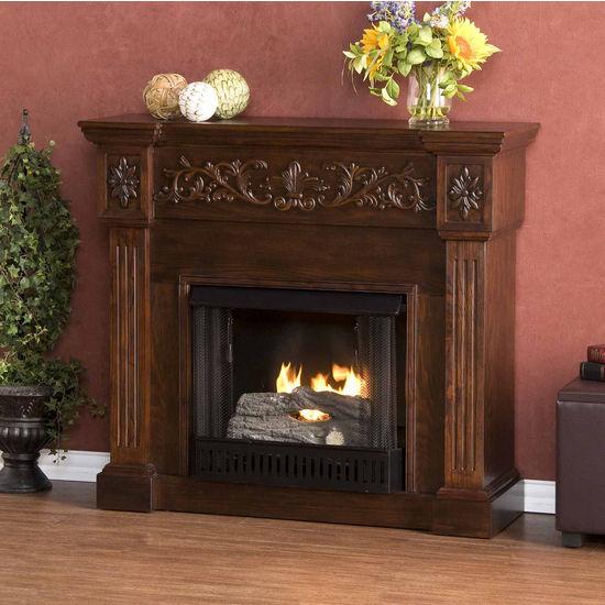 Southern Enterprises Calvert Espresso Gel Fuel Fireplace, 44-1/2 inch W x 14-1/2 inch D x 40-1/4 inch H