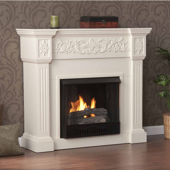 Southern Enterprises Calvert Ivory Gel Fuel Fireplace, 44-1/2 inch W x 14-1/2 inch D x 40-1/4 inch H