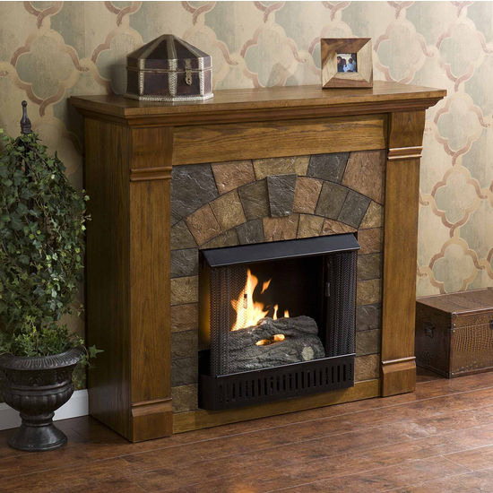 Southern Enterprises Elkmont Salem Antique Oak Gel Fuel Fireplace, 45-1/2W x 14-1/2D x 40H