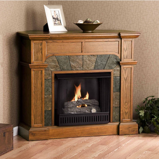 Southern Enterprises Cartwright Mission Oak Convertible Slate Gel Fuel Fireplace, 45-1/2 inch W x 15-1/2 inch D x 40-1/4 inch H
