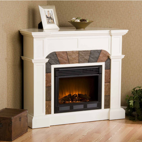 Southern Enterprises Cartwright Ivory Convertible Slate Electric Fireplace, 45-1/2 inch W x 15-1/2 inch D x 40-1/4 inch H