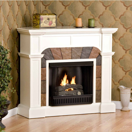 Southern Enterprises Cartwright Ivory Convertible Slate Gel Fuel Fireplace, 45-1/2 inch W x 15-1/2 inch D x 40-1/4 inch H