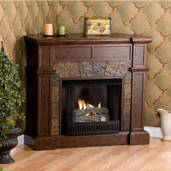 Southern Enterprises Cartwright Espresso Convertible Slate Gel Fuel Fireplace, 45-1/2W x 15-1/2D x 40-1/4H