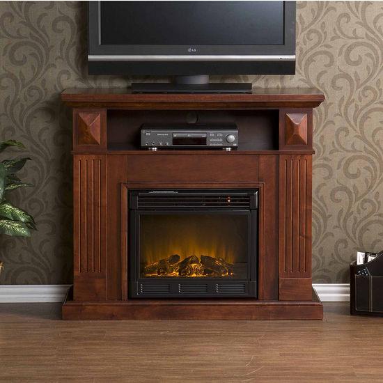 Southern Enterprises Graham Cherry Media Console w/ Electric Fireplace, 46W x 14-1/2D x 40-1/4H