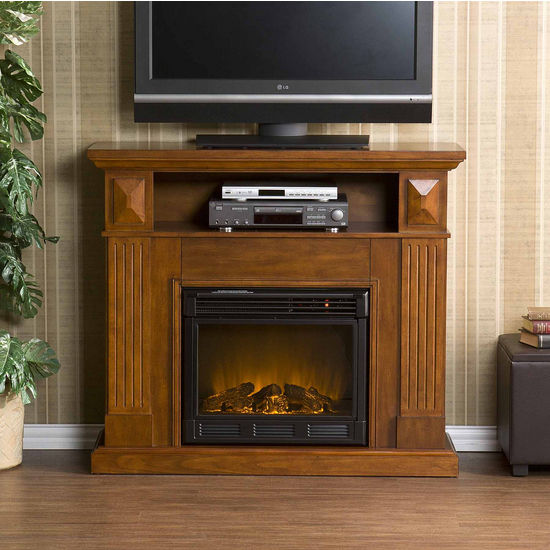 Southern Enterprises Graham Brown Mahogany Media Console w/ Electric Fireplace, 46W x 14-1/2D x 40-1/4H