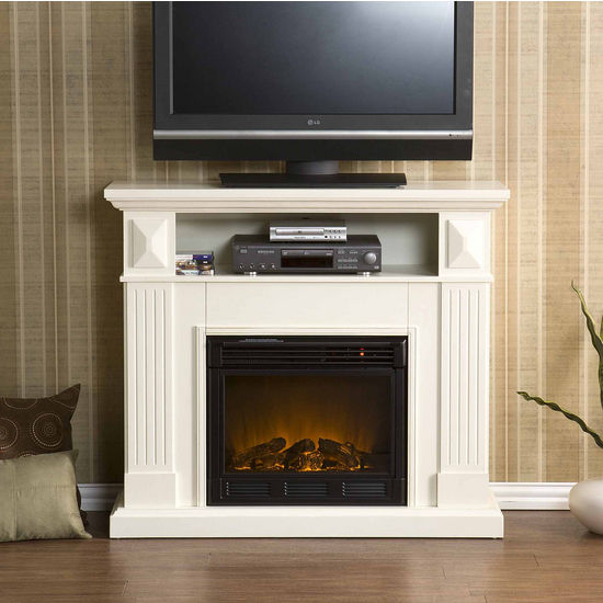 Southern Enterprises Graham Ivory Media Console w/ Electric Fireplace, 46W x 14-1/2D x 40-1/4H