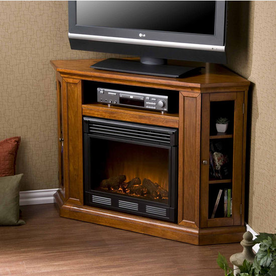Southern Enterprises Claremont Brown Mahogany Media Console w/ Electric Fireplace, 48W x 15-3/4D x 32-1/4H