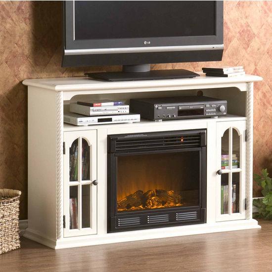 Southern Enterprises Tillman Antique White Media Console w/ Electric Fireplace, 48W x 15D x 32H