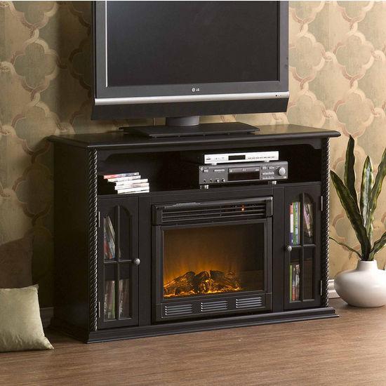Southern Enterprises Tillman Black Media Console w/ Electric Fireplace, 48W x 15D x 32H
