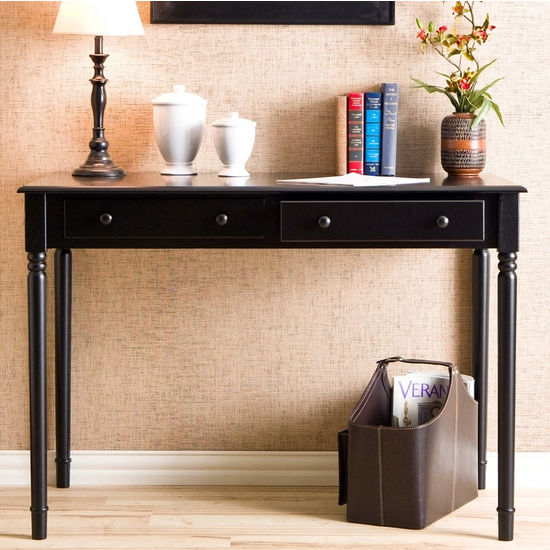 Holly & Martin™ Parker 2-Drawer Writing Desk, Satin Black