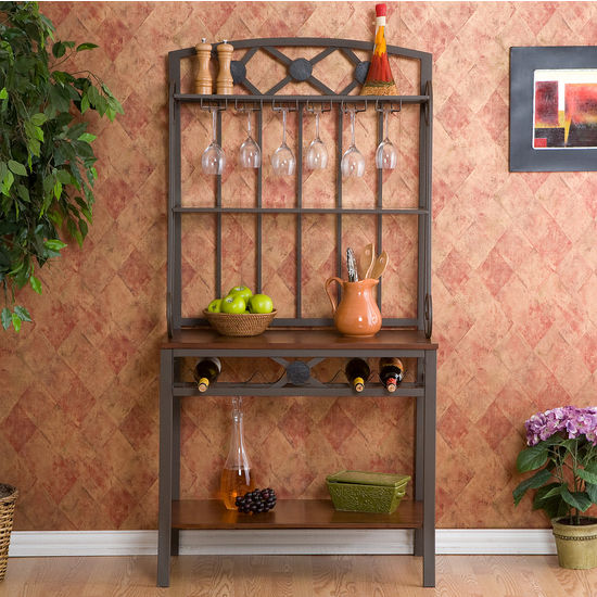 Southern Enterprises Decorative Bakers Rack w/ Wine Storage, 6 Bottle Capacity, 34-1/4W x 17D x 67-3/4H, Coffee Brown