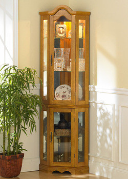 Southern Enterprises Golden Oak Lighted Corner Curio Cabinet