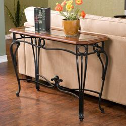 Southern Enterprises Prentice Sofa Table w/Glass Top 42 W x 16 D x 28 H