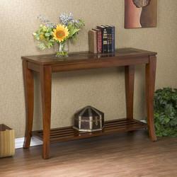 Southern Enterprises - Slate Sofa Table, 42 W x 16 D x 30 1/4 H, Brown Cherry
