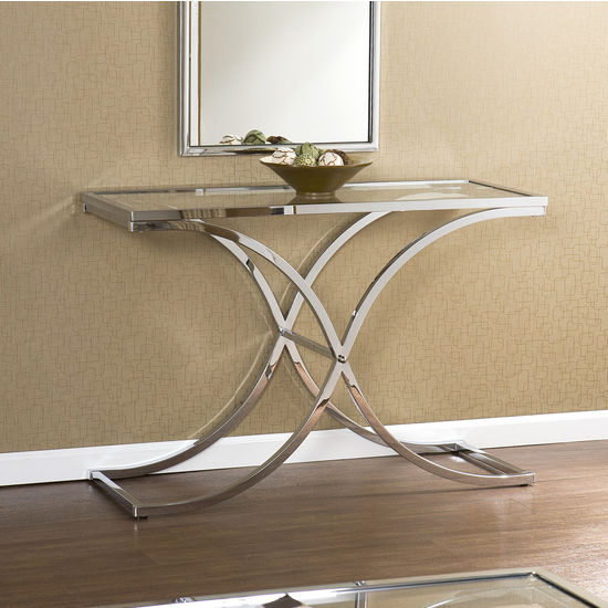 Southern Enterprises - Vogue Chrome Sofa Table, 44 W x 18 D x 30 H