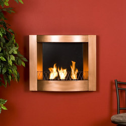 Southern Enterprises Wall Mount Gel Fuel Fireplace, Painted Copper