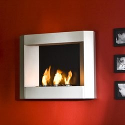 Southern Enterprises Wall Mount Gel Fuel Fireplace, Textured Silver