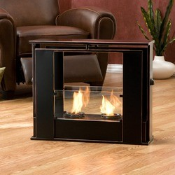 Southern Enterprises Portable Indoor/Outdoor Gel Fuel Fireplace, 24 W x 8 1/4 D x 20 1/4 H, Black/Copper
