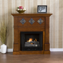 Southern Enterprises Monticello Walnut Gel Fuel Fireplace