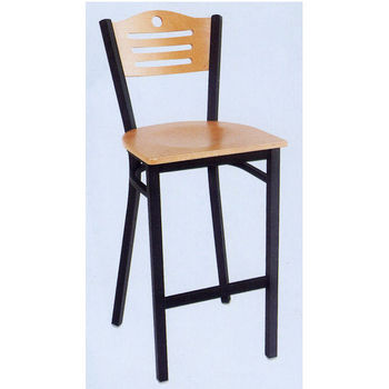 Admiral Bar Stool with Black Metal Frame & Natural Wood Seat and Backrest by Alston