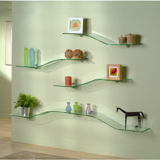 "Aviana Seville 8"" x 36"" Stepped Tempered Glass Shelves"