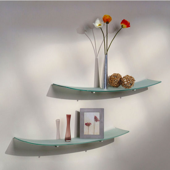 "Aviana Valencia 8"" x 36"" Concave Tempered Glass Shelves"