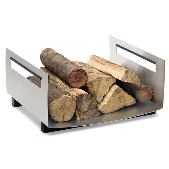 Square Log/Firewood Basket, Brushed Stainless Steel